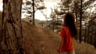 Child Hiking - A little  Girl Hiking In The Woods.Slow Motion. video