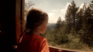 Child in Train - A Little Girl Enjoys Her First Journey by Train. Mountain View out the Window. video