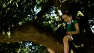 Child reading in tree video