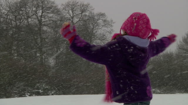 SLOW MOTION: Child spinning in snow video