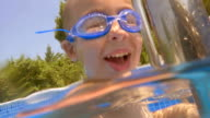 Child wearing goggles diving in the pool video