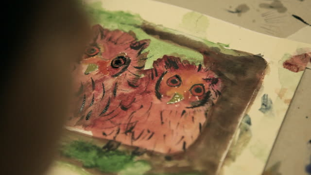 Children activity video - painting at watercolor class. HD video