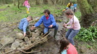 Children And Adults Carrying Out Conservation Work On Stream video