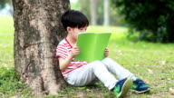 Children are reading in the park video
