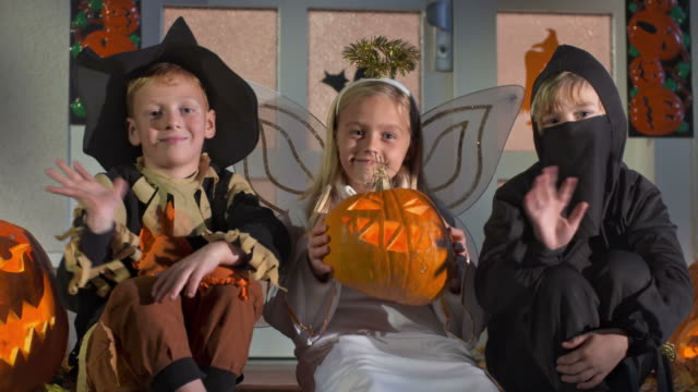 HD DOLLY: Children Dressed In Halloween Costumes video