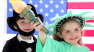 Children dressed up like patriotic characters video