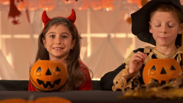 HD DOLLY: Children Eating Halloween Candy video