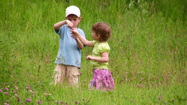 Children explore bug video