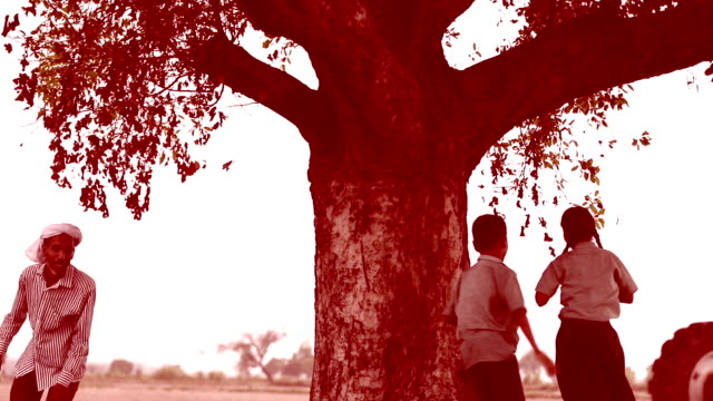 Children & father playing in the nature video