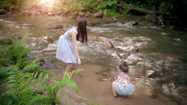 Children girl playing at the river on a sunny spring day video
