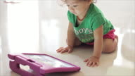 Children happy looking with tablet video