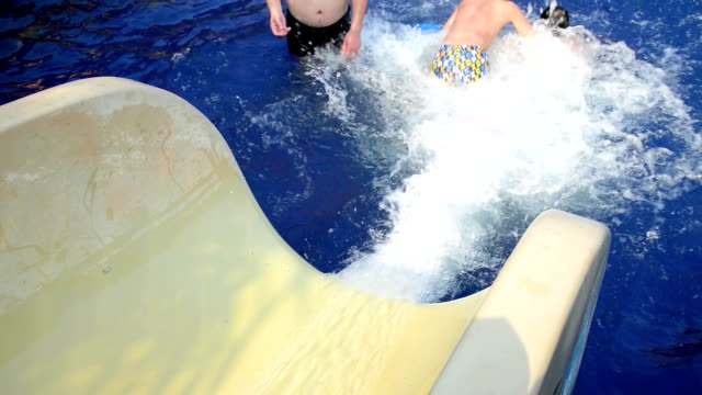 Children Having Fun On Water Slide video