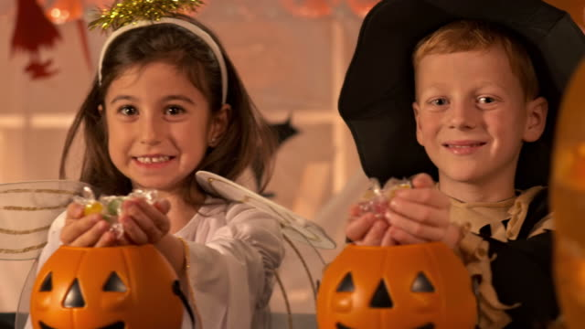 HD DOLLY: Children Holding Out Halloween Candy video