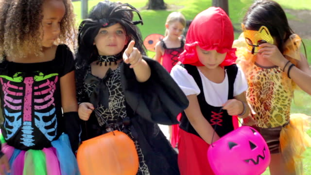 Children In Fancy Costume Dress Going Trick Or Treating video