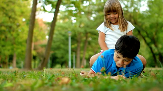 Children in nature having fun video