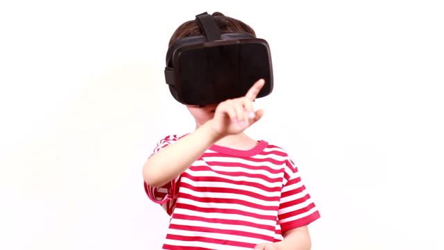 Children play virtual reality simulator video