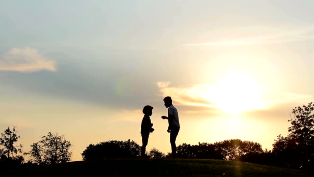 Children playing at sunset. video