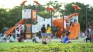 4K: Children playing in outdoor playground video
