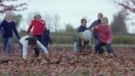 Children Playing on an Autumn Day video