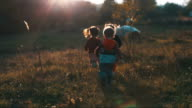 Children run on the field video