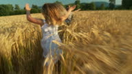 HD SLOW-MOTION: Children Running In Wheat video