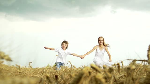 Children running in wheat video