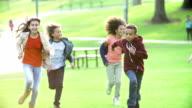 Children Running Towards Camera In Slow Motion video