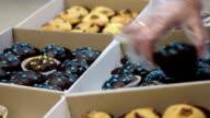 Children selling sweet chocolate muffins at school fair, raising charity money video