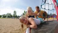 Children spinning on ride at playground video