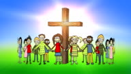 Children standing in a circle around the cross video