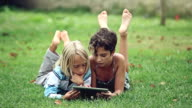 Children studying and playing on a tablet video
