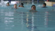 Children Swimming in a Pool at a Fitness Centre video