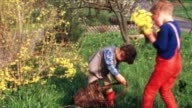Children with bunny pups (vintage 8mm) video