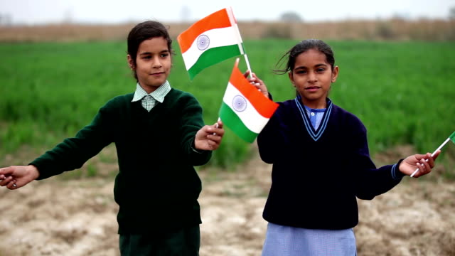 Children with Indian flag in the nature video