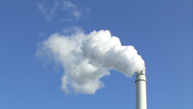 Chimney with smoke - Power plant video
