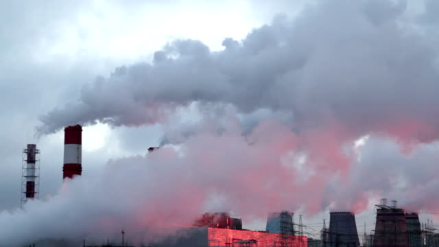 chimneys of a power station. video