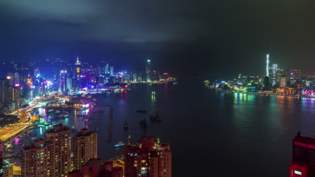 china bay high light night hong kong panoramic view 4k time lapse video