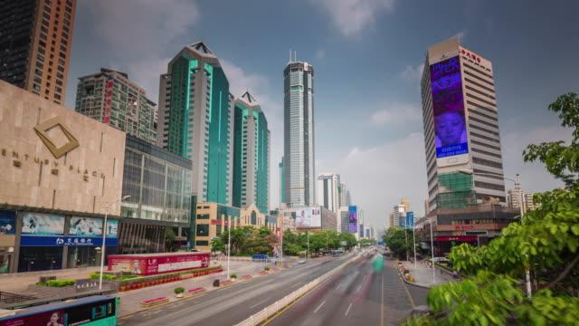 china day light shenzhen city traffic road 4k time lapse video