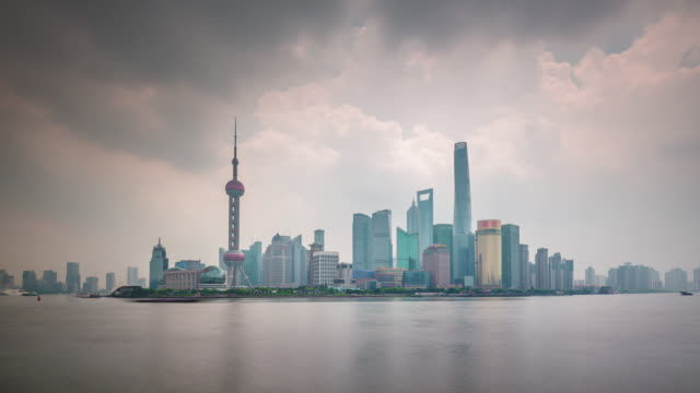 china day shanghai famous downtown river traffic bay panorama 4k time lapse video