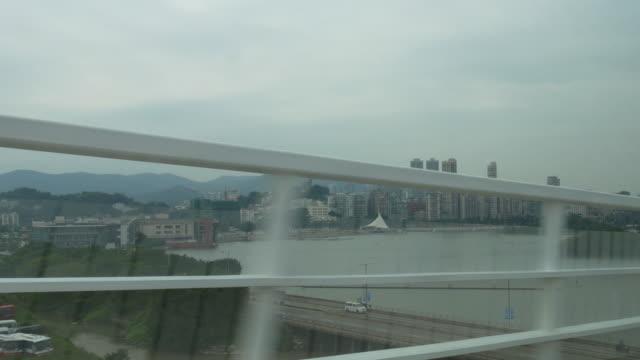 china day time macau road trip backside downtown bay  4k video