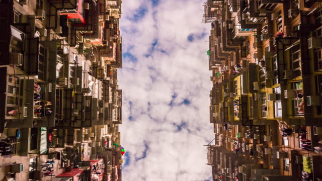 china famous hong kong apartment building up sky view day panorama 4k time lapse video