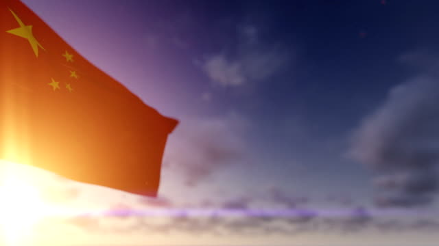 China Flag against Time Lapse Clouds, Luma Matte included video