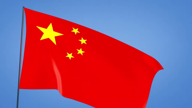 china flag blue sky video