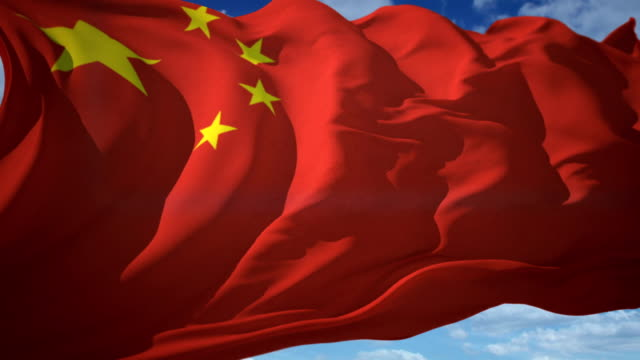 China Flag - waving, looping video