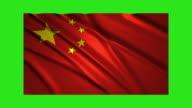 China flag waving,loopable on green screen video