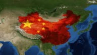 China from space with flag - zoom video