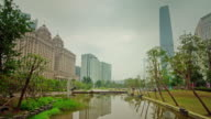 china guangzhou city center park panorama 4k time lapse video