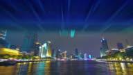 china guangzhou night illumination tourist ship river ride 4k time lapse video