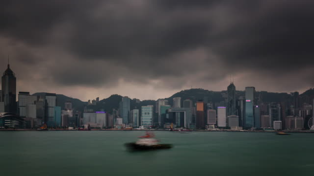 china hong kong city storm sky round panorama 4k time lapse video