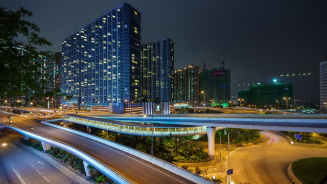 china hong kong city traffic crossroad living block 4k time lapse video